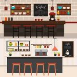 Insegne di orizzontale degli interni della caffetteria Fotografia Stock