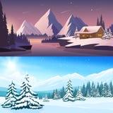 Insegne di orizzontale del paesaggio di inverno illustrazione di stock