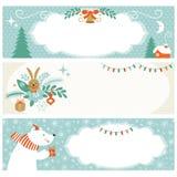 Insegne di orizzontale di Natale Immagine Stock