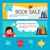 Insegne di orizzontale di vendita di libro Fotografie Stock