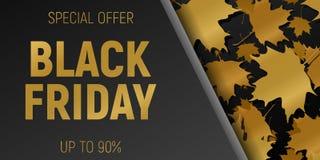 Insegne di orizzontale di web di vendita di Black Friday Foglie di acero di volo dell'oro Priorità bassa nera Illustrazione di ve Immagini Stock Libere da Diritti