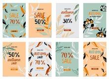 Insegne di promozione per la vendita di autunno con l'iscrizione della mano Modello di promo di sconto di caduta Fotografia Stock