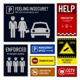 Insegne di protezione e sicurezza del parcheggio illustrazione vettoriale