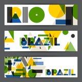 Insegne di Rio e del Brasile nello stile geometrico astratto Progetti per le coperture, opuscolo turistico, annunciante il fondo Fotografia Stock Libera da Diritti