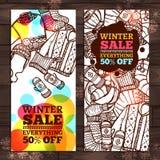 Insegne di schizzo di vendita di inverno Fotografia Stock Libera da Diritti