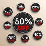 Insegne di sconto -10% -20% -30% -40% -50% -60% -70% -80% -90% fuori dalle icone Fotografie Stock Libere da Diritti