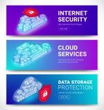 Insegne di servizi della nuvola messe illustrazione di stock