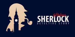 Insegne di Sherlock Holmes Illustrazione dell'agente investigativo Illustrazione con Sherlock Holmes Via 221B del panettiere Lond illustrazione di stock