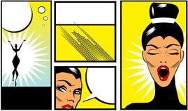 Insegne di stile del libro di fumetti di Pop art con la bella donna illustrazione vettoriale