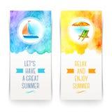 Insegne di vacanze estive e di viaggio Fotografia Stock