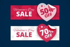 Insegne di vendita di giorno di biglietti di S. Valentino illustrazione di stock