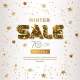 Insegne di vendita di inverno con le stelle d'oro 3d ed i fiocchi di neve Vector il manifesto di vacanze invernali, fondo bianco  illustrazione di stock