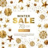 Insegne di vendita di inverno con le stelle d'oro 3d ed i fiocchi di neve Vector il manifesto di vacanze invernali, fondo bianco  illustrazione vettoriale