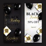 Insegne di verticale di vendita di Black Friday Palloni e regali lucidi b immagine stock
