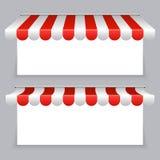 Insegne di vettore con l'insieme a strisce delle tende della tenda royalty illustrazione gratis