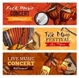 Insegne di vettore di concerto o di festival di musica messe illustrazione vettoriale