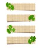 Insegne di web del giorno di St Patrick con l'acetosella Vettore EPS-10 Fotografie Stock