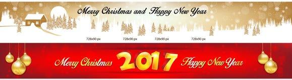 Insegne 2017 di web del nuovo anno e di Natale Fotografia Stock