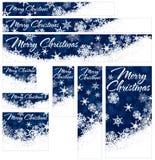 Insegne di web di Natale dei fiocchi di neve illustrazione di stock