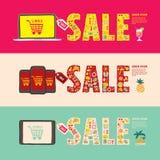 Insegne di web di vendita di estate Immagine Stock