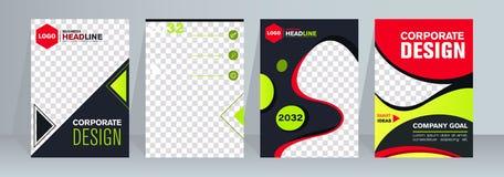 Insegne di web di progettazione delle dimensioni standard differenti Modelli con il posto rotondo per le foto, bottoni Illustrazi illustrazione vettoriale