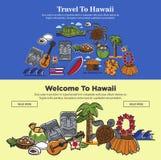 Insegne di web di viaggio delle Hawai dei sightseeings hawaiani e dei punti di riferimento famosi della cultura Fotografia Stock Libera da Diritti
