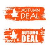 Insegne disegnate affare di autunno con la foglia di caduta Immagini Stock