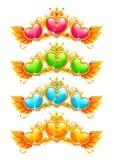 Insegne dorate fresche con i cuori di cristallo variopinti royalty illustrazione gratis