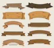 Insegne e nastri di legno del fumetto Fotografia Stock