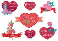 Insegne ed elementi romantici decorativi di giorno del ` s del biglietto di S. Valentino con i cuori e le rose Immagine Stock