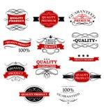 Insegne ed etichette del prodotto di qualità Fotografie Stock Libere da Diritti