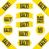 Insegne ed etichette di Black Friday Immagini Stock