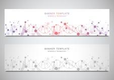 Insegne ed intestazioni di vettore per il sito con il filo del DNA e la struttura molecolare Ingegneria o ricerca genetica del la illustrazione vettoriale