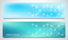 Insegne ed intestazioni per il sito con il filo del DNA e la struttura molecolare Ingegneria o ricerca genetica del laboratorio illustrazione di stock
