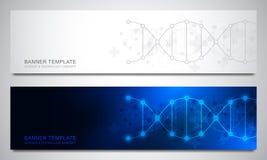 Insegne ed intestazioni per il sito con il filo del DNA e la struttura molecolare Ingegneria o ricerca genetica del laboratorio illustrazione vettoriale