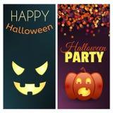 Insegne felici del partito di Halloween e di Halloween Insieme degli elementi di disegno di vettore illustrazione vettoriale
