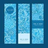 Insegne floreali di verticale di struttura del campo blu di vettore Immagine Stock