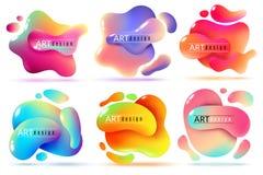 Insegne fluide di forma Le forme liquide sottraggono gli elementi di cambiamento continuo di colore dipingono gli autoadesivi cre illustrazione vettoriale