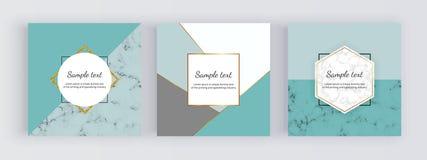 Insegne geometriche di web di vendita con i triangoli della menta, linee dorate Progettazione moderna di modo di promozione con s illustrazione vettoriale