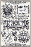 Insegne grafiche disegnate a mano d'annata ed etichette illustrazione di stock