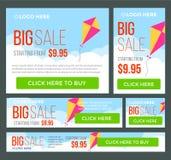 Insegne grandi, di metà prezzo e di vendita giorna Vettore Fotografia Stock