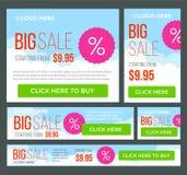 Insegne grandi, di metà prezzo e di vendita giorna Vettore Immagini Stock
