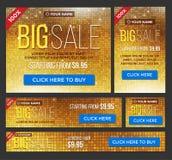 Insegne grandi, di metà prezzo e di vendita giorna Vettore Fotografie Stock