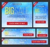 Insegne grandi, di metà prezzo e di vendita giorna Vettore Immagini Stock Libere da Diritti