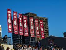Insegne grige della tazza del club di calcio di Montreal Alouettes Fotografia Stock