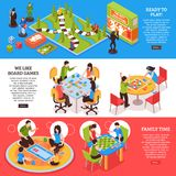 Insegne isometriche della gente dei giochi da tavolo royalty illustrazione gratis