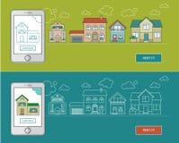 Insegne lineari piane di web del bene immobile Immagini Stock Libere da Diritti