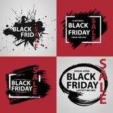 Insegne nere di vendita di venerdì Immagine Stock Libera da Diritti