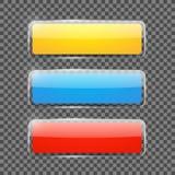 Insegne o bottoni rettangolari brillanti di web Fotografia Stock Libera da Diritti
