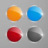 Insegne o bottoni rotondi brillanti di web Fotografia Stock Libera da Diritti